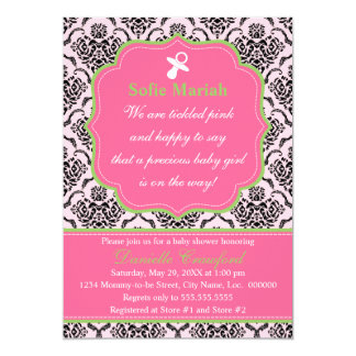"""Damask Pink and Green Baby Shower 5"""" X 7"""" Invitation Card"""