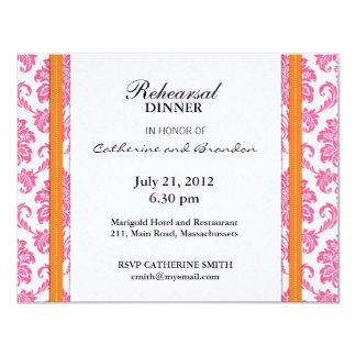 Damask Pink and Orange Rehearsal Dinner Card