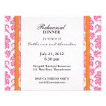 Damask Pink and Orange Rehearsal Dinner Card Invite