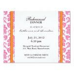 Damask Pink and Orange Rehearsal Dinner Card Invite