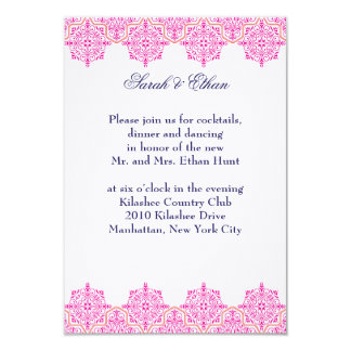 Damask pink and Orange Wedding Reception Cards