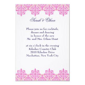 Damask pink and Orange Wedding Reception Cards