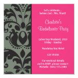 damask pink; bachelorette 5.25x5.25 square paper invitation card