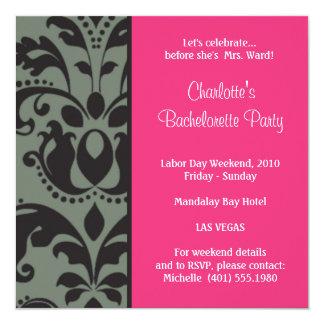 damask pink; bachelorette invitation