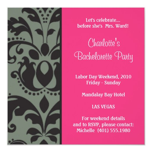 damask pink; bachelorette 5.25x5.25 square paper invitation card