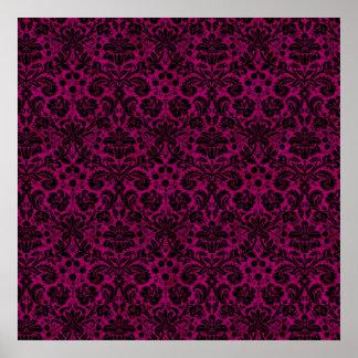 Damask Pink Black Print