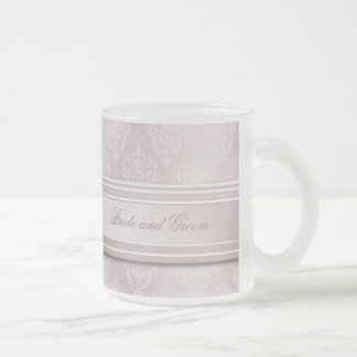 Damask Pink Blush Frosted Glass Coffee Mug