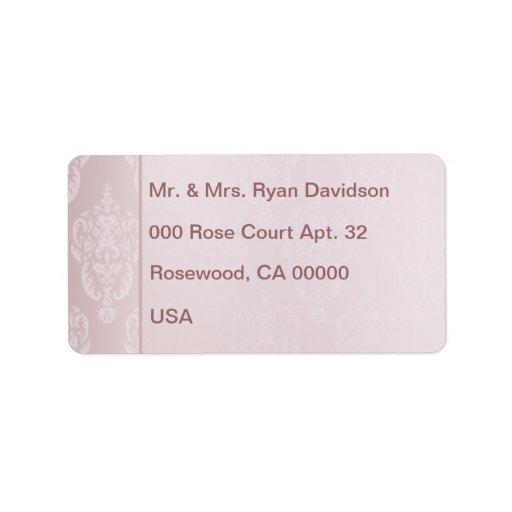 Damask Pink Blush Label