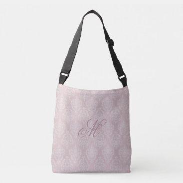 linda_mn Damask Pink Blush Monogram Crossbody Bag