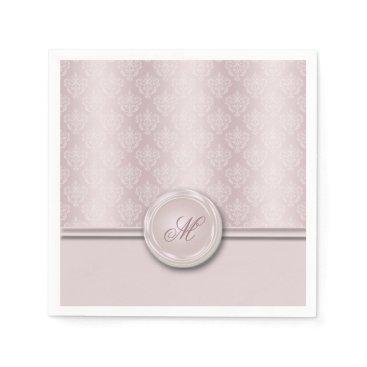 linda_mn Damask Pink Blush Monogram Paper Napkin