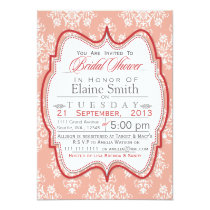 Damask Pink Bridal shower Invites