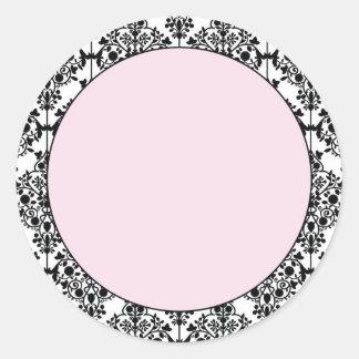 Damask Pink Classic Round Sticker