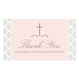 Damask Pink & Cream with Cross FAVOR CARD Double-Sided Standard Business Cards (Pack Of 100)