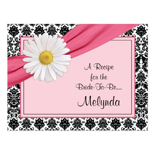 Damask Pink Daisy Recipe Card for the Bride Post Card