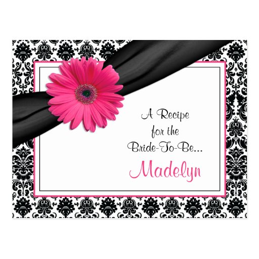 Damask Pink Gerber Daisy Recipe Card for the Bride Post Cards