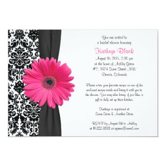 Damask Pink Gerbera Daisy Recipe Bridal Shower 5x7 Paper Invitation Card