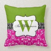 Damask Pink Green Black Monogram Throw Pillow