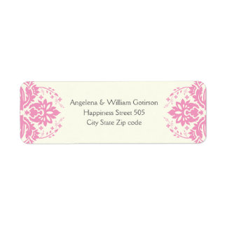 Damask pink, grey, ivory wedding label