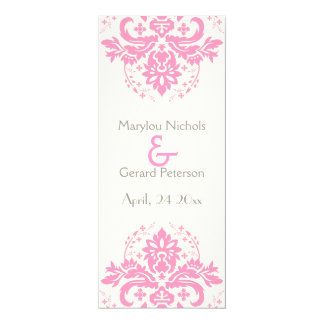 Damask pink, grey wedding ceremony program