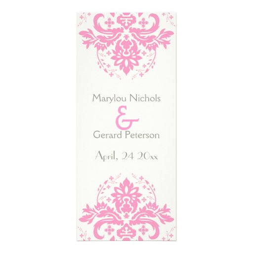 Damask Pink Grey Wedding Ceremony Program 4 X 925 Invitation Card