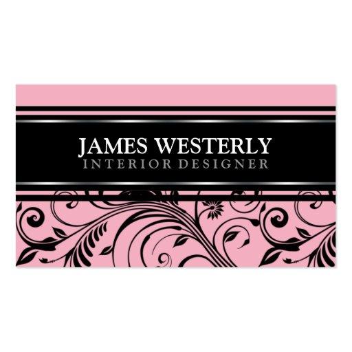 Damask Pink Interior Designer Business Cards Zazzle