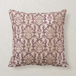 Damask Pink Pearly Ivory Glitter Pearly Floral Throw Pillow