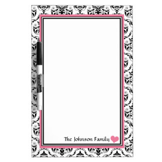 Damask Pink Personalized Dry-Erase Board