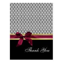 damask pink  ribbon ThankYou Cards