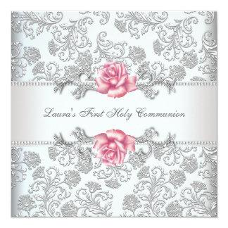 Damask Pink Rose Girls First Communion Card
