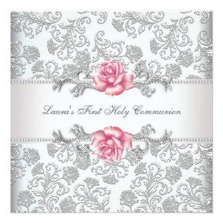 Damask Pink Rose Girls First Communion Invitation