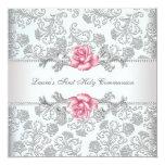 "Damask Pink Rose Girls First Communion 5.25"" Square Invitation Card"