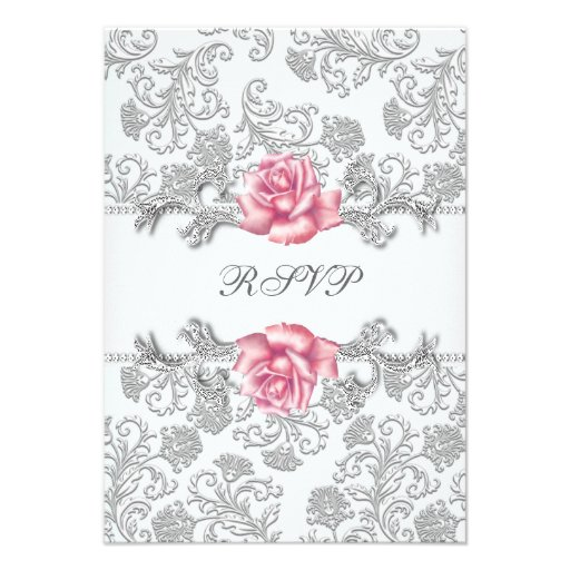 Damask Pink Rose Girls First Communion RSVP Announcement
