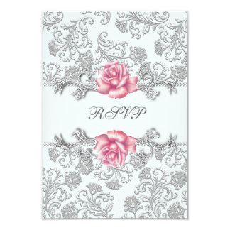 Damask Pink Rose Girls First Communion RSVP 3.5x5 Paper Invitation Card