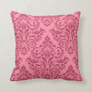 Damask - pink rose throw pillow