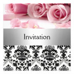 Damask Pink Roses Party Invitation save the date