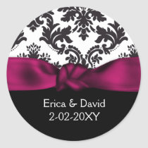 damask pink wedding classic round sticker