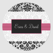 damask pink Wedding Monogram stickers