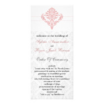 damask  pink Wedding program