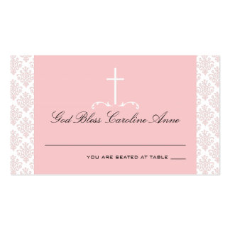 Damask Pink with Cross Seating Card