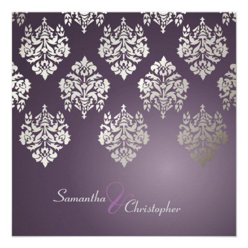 """Plum And Silver Wedding Invitations: Damask/plum/faux Silver Wedding Invitations 5.25"""" Square"""