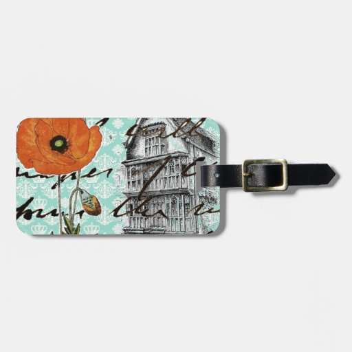 Damask & Poppies Tag For Luggage