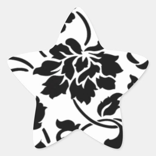 Damask Print-Black and White Star Sticker