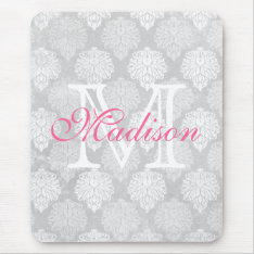 Damask Print Girly Monogram Name Mouse Pad at Zazzle