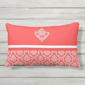 Damask Print with White Stripes in Salmon Hues Outdoor Pillow