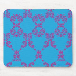 Damask Purple-Aqua Mouse Pad