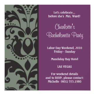 damask purple; bachelorette announcement
