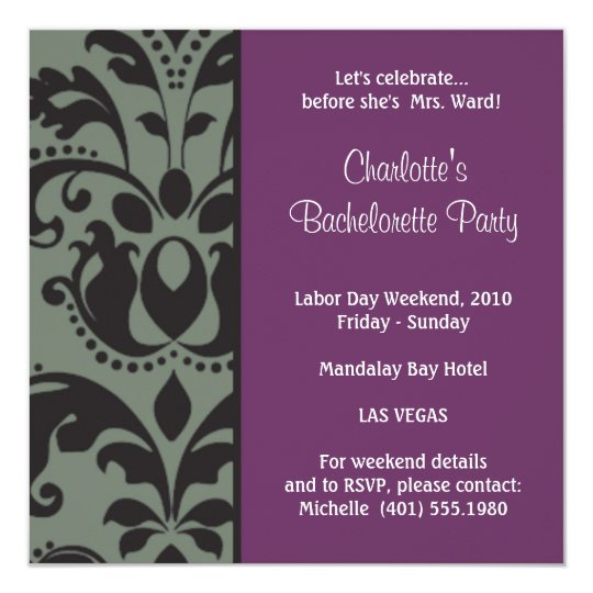 damask purple; bachelorette card