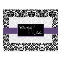 damask purple ,black and white  Save the Date Postcard