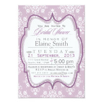 Damask Purple Bridal shower Invites