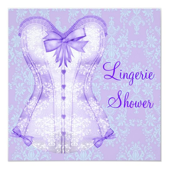 Damask Purple Corset Lingerie Bridal Shower Card